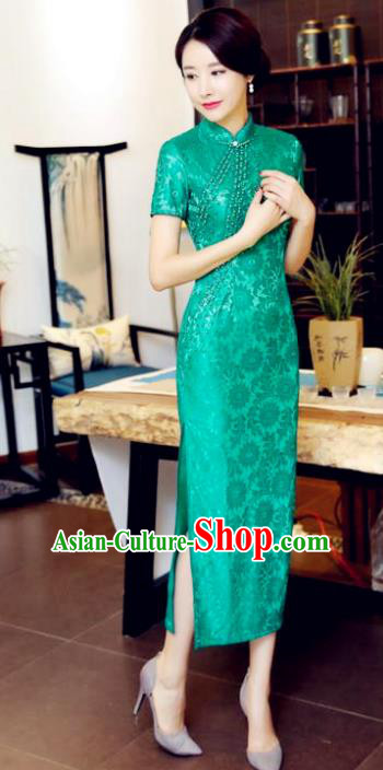 Top Grade Chinese National Costume Green Lace Qipao Dress Traditional Tang Suit Cheongsam for Women