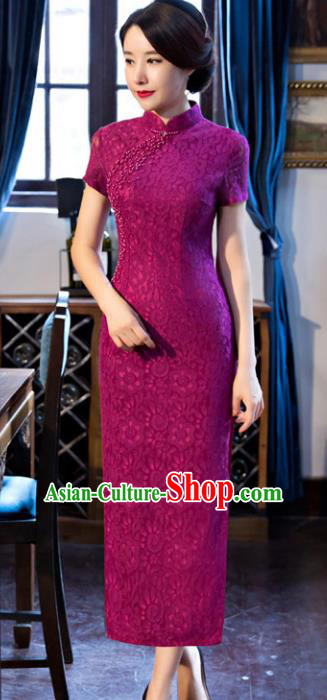 Top Grade Chinese National Costume Amaranth Lace Qipao Dress Traditional Tang Suit Cheongsam for Women