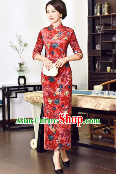 Top Grade Chinese National Costume Red Velvet Qipao Dress Traditional Tang Suit Cheongsam for Women