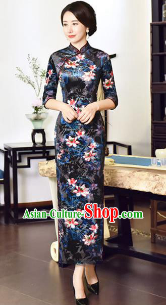 Top Grade Chinese National Costume Navy Velvet Qipao Dress Traditional Tang Suit Cheongsam for Women