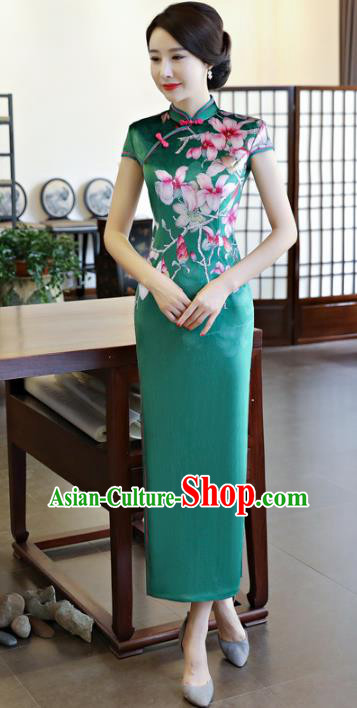 Top Grade Chinese National Costume Printing Peach Blossom Green Silk Qipao Dress Traditional Tang Suit Cheongsam for Women