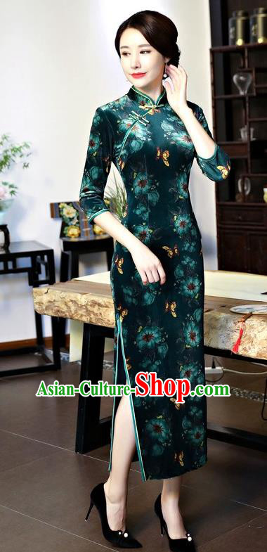Top Grade Chinese National Costume Green Pleuche Qipao Dress Traditional Tang Suit Cheongsam for Women