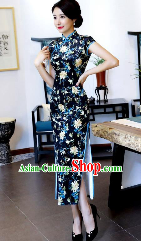 Top Grade Chinese National Costume Navy Pleuche Qipao Dress Traditional Tang Suit Cheongsam for Women