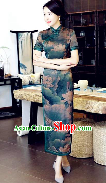 Chinese National Costume Handmade Tang Suit Qipao Dress Traditional Printing Lotus Green Cheongsam for Women