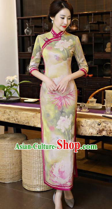 Chinese National Costume Tang Suit Qipao Dress Traditional Printing Lotus Green Cheongsam for Women