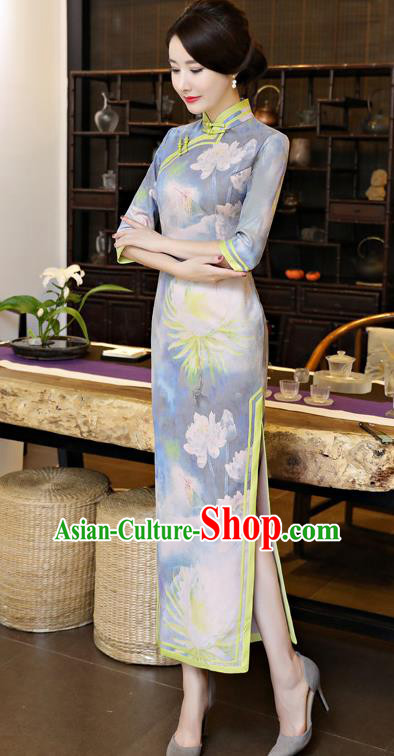 Chinese National Costume Tang Suit Qipao Dress Traditional Printing Lotus Blue Cheongsam for Women
