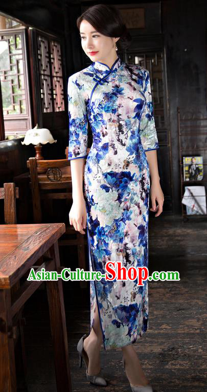Chinese National Costume Handmade Light Blue Velvet Qipao Dress Traditional Tang Suit Printing Cheongsam for Women