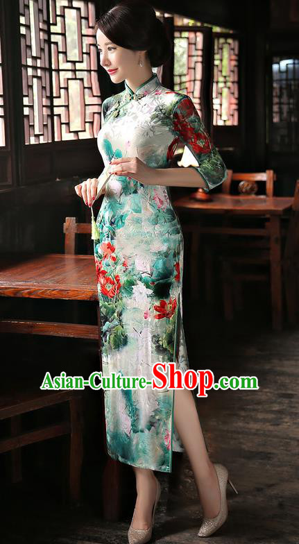 Chinese National Costume Handmade Green Velvet Qipao Dress Traditional Tang Suit Printing Cheongsam for Women