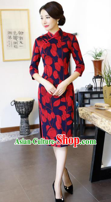 Chinese National Costume Handmade Printing Qipao Dress Traditional Tang Suit Cheongsam for Women