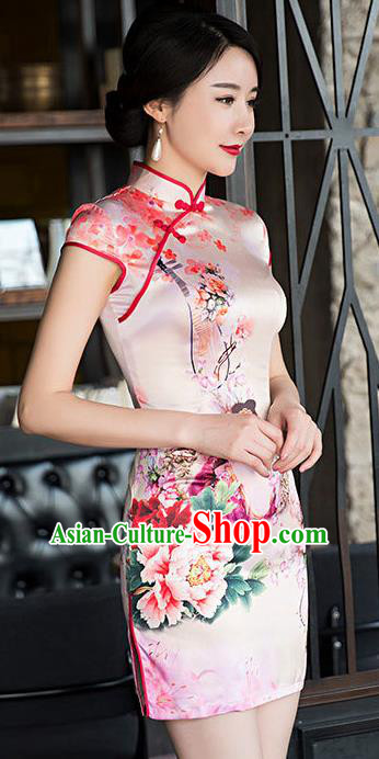 Chinese National Costume Retro Embroidered Qipao Dress Traditional Republic of China Tang Suit Short Cheongsam for Women