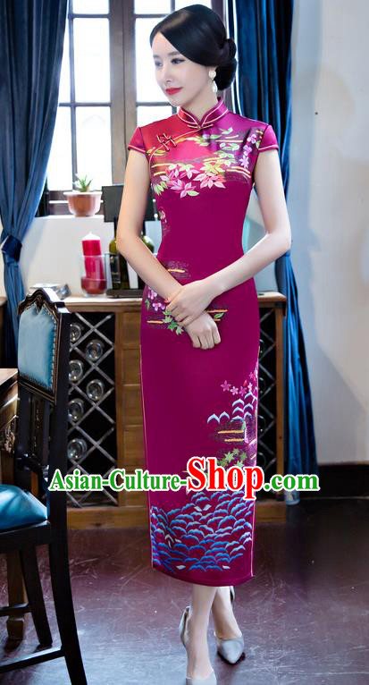 Chinese Top Grade Retro Printing Silk Qipao Dress Traditional Republic of China Tang Suit Rosy Cheongsam for Women