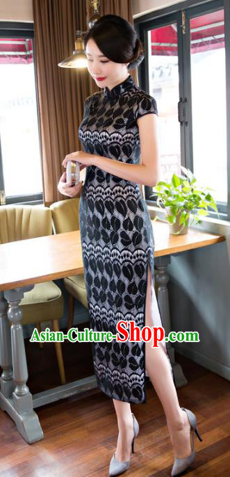 Chinese National Costume Retro Black Lace Qipao Dress Traditional Republic of China Tang Suit Cheongsam for Women