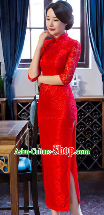 Chinese National Costume Tang Suit Red Lace Qipao Dress Traditional Wedding Cheongsam for Women