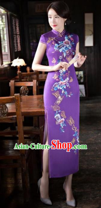 Chinese National Costume Tang Suit Printing Purple Silk Qipao Dress Traditional Republic of China Cheongsam for Women