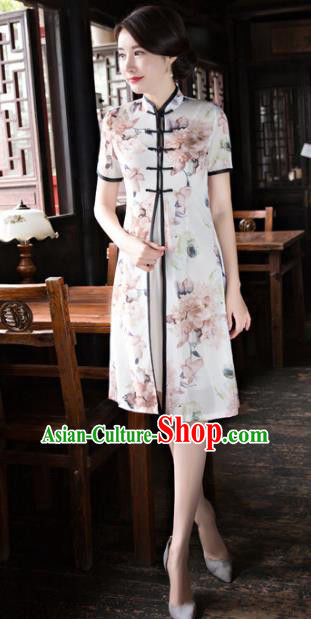 Chinese National Costume Tang Suit Printing Qipao Dress Traditional Republic of China Cheongsam for Women
