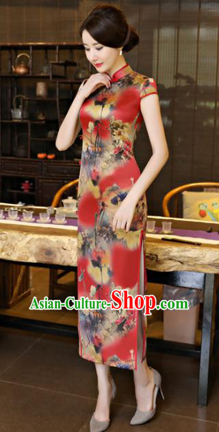 Chinese National Costume Tang Suit Printing Lotus Red Qipao Dress Traditional Republic of China Cheongsam for Women