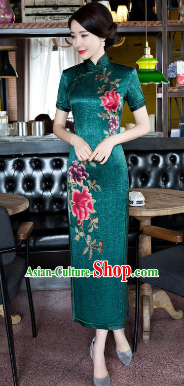 Chinese National Costume Tang Suit Green Qipao Dress Traditional Republic of China Printing Peony Cheongsam for Women
