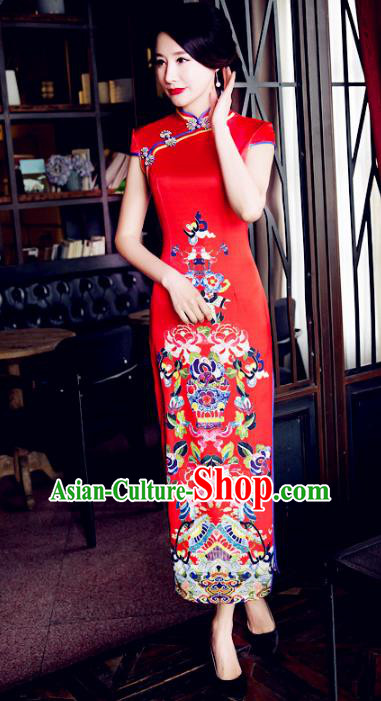 Chinese National Costume Tang Suit Wedding Qipao Dress Traditional Republic of China Printing Red Cheongsam for Women