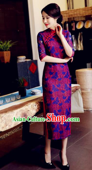 Chinese National Costume Tang Suit Printing Purple Retro Qipao Dress Traditional Republic of China Cheongsam for Women