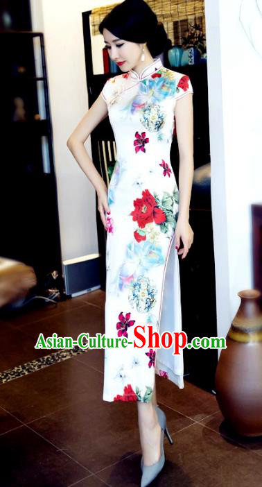 Chinese National Costume Retro Printing Peony White Silk Qipao Dress Traditional Republic of China Tang Suit Cheongsam for Women