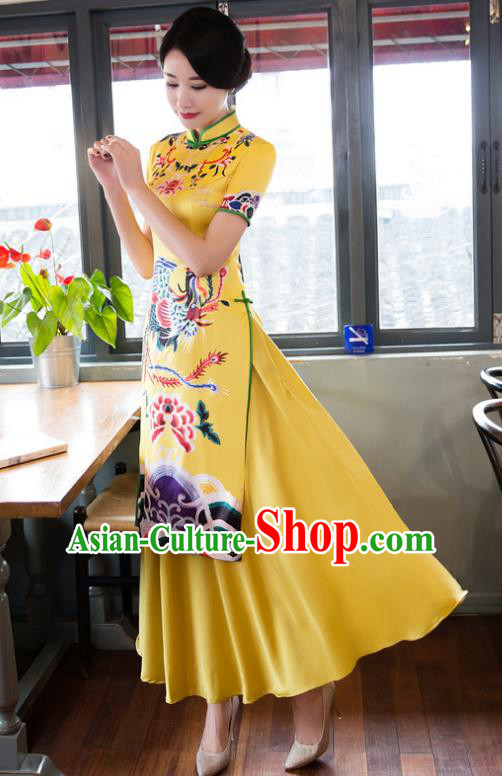 Chinese National Costume Retro Printing Phoenix Peony Yellow Qipao Dress Traditional Republic of China Tang Suit Cheongsam for Women
