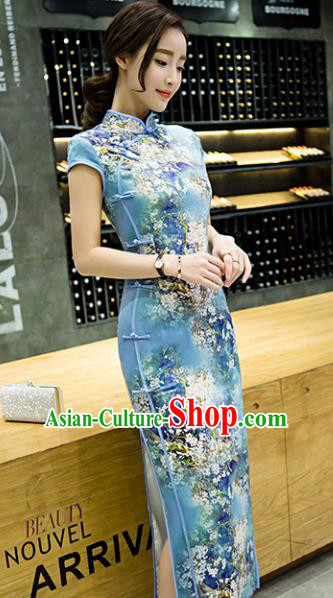 Chinese Top Grade Retro Printing Flowers Blue Qipao Dress Traditional Republic of China Tang Suit Cheongsam for Women