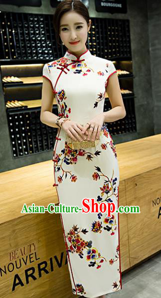 Chinese Top Grade Retro Printing Flowers White Qipao Dress Traditional Republic of China Tang Suit Cheongsam for Women