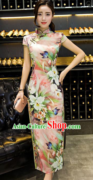 Chinese Top Grade Retro Printing Flowers Pink Silk Qipao Dress Traditional Republic of China Tang Suit Cheongsam for Women