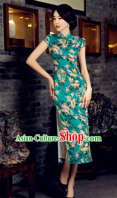 Chinese Top Grade Retro Green Silk Qipao Dress Traditional Republic of China Tang Suit Cheongsam for Women