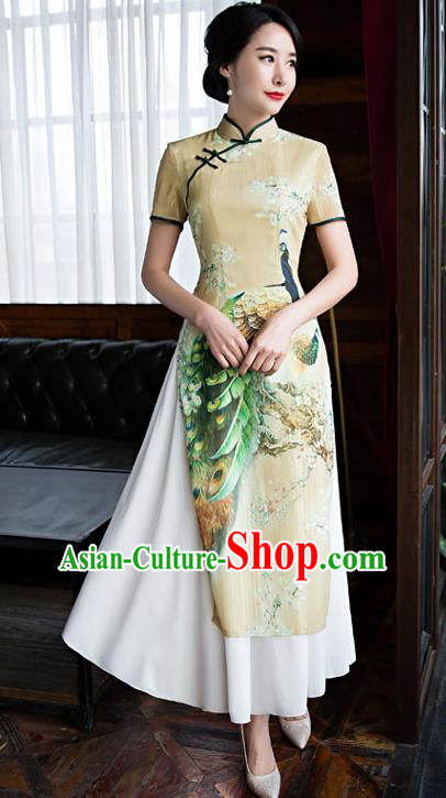 Chinese Top Grade Retro Printing Peacock Yellow Qipao Dress Traditional Republic of China Tang Suit Cheongsam for Women