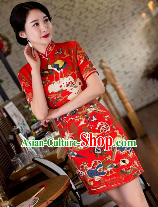 Chinese Top Grade Elegant Printing Crane Qipao Dress Traditional Republic of China Tang Suit Red Cheongsam for Women