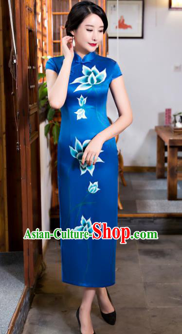 Chinese Top Grade Elegant Blue Silk Qipao Dress Traditional Republic of China Tang Suit Printing Lotus Cheongsam for Women