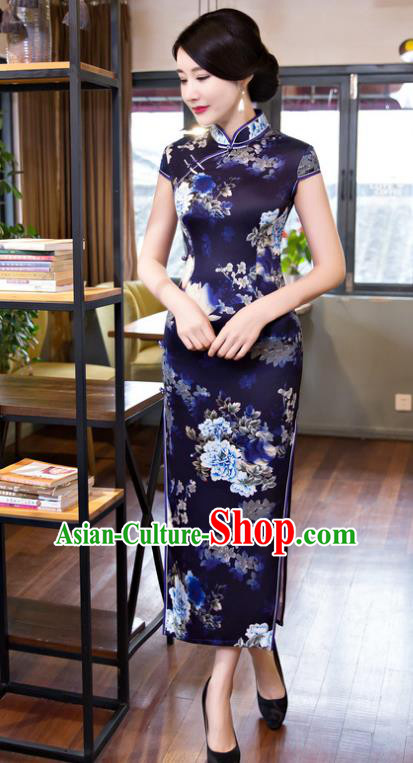 Top Grade Chinese Elegant Printing Peony Navy Cheongsam Traditional Republic of China Tang Suit Silk Qipao Dress for Women