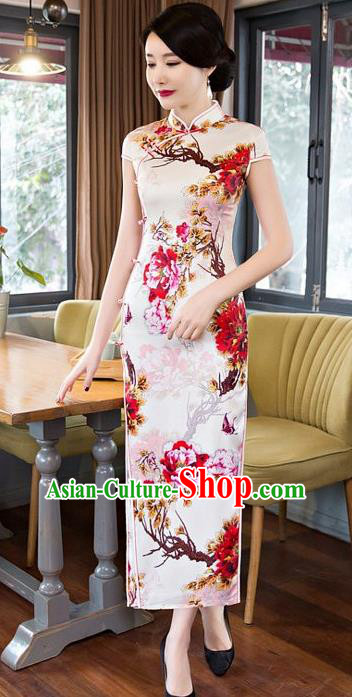 Top Grade Chinese Elegant Printing Flowers Cheongsam Traditional Republic of China Tang Suit Silk Qipao Dress for Women