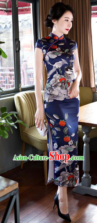 Top Grade Chinese Elegant Printing Birds Navy Cheongsam Traditional Republic of China Tang Suit Silk Qipao Dress for Women