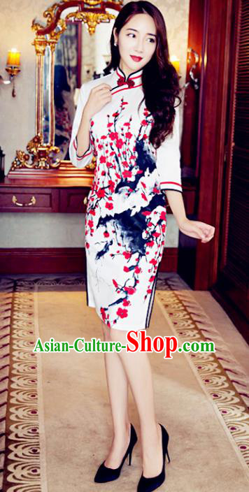 Top Grade Chinese Elegant Green Cheongsam Traditional China Tang Suit Ink Painting Plum Blossom Qipao Dress for Women