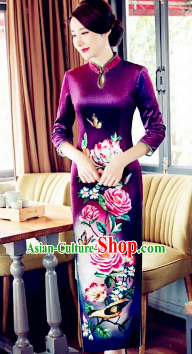 Top Grade Chinese Elegant Printing Purple Cheongsam Traditional China Tang Suit Qipao Dress for Women