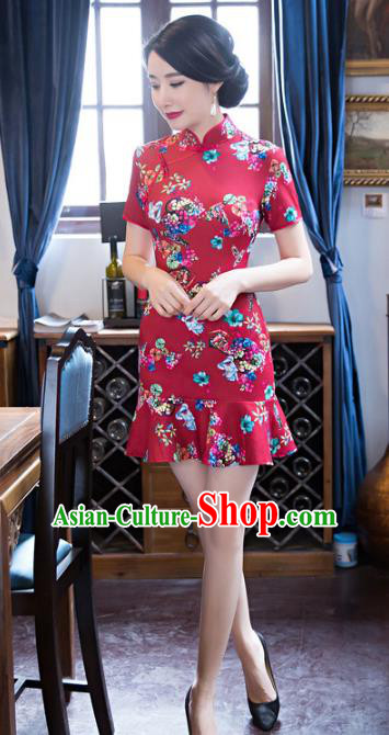 Top Grade Chinese Elegant Printing Rosy Short Cheongsam Traditional China Tang Suit Qipao Dress for Women