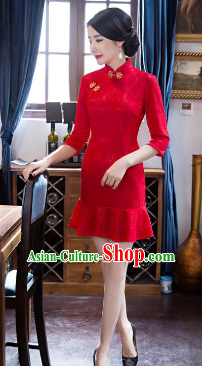 Top Grade Chinese Elegant Red Lace Short Cheongsam Traditional China Tang Suit Qipao Dress for Women