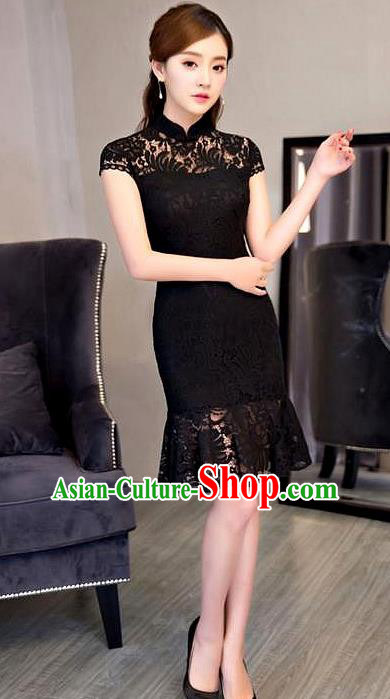 Chinese Top Grade Elegant Qipao Dress Traditional Republic of China Tang Suit Black Lace Short Cheongsam for Women