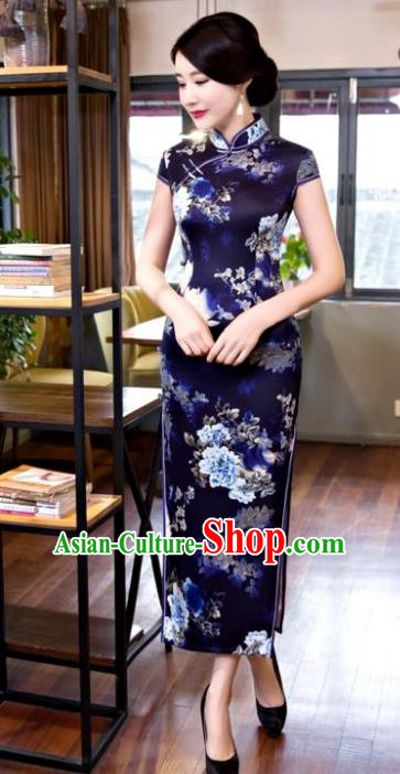 Chinese Top Grade Elegant Printing Peony Navy Silk Qipao Dress Traditional Republic of China Tang Suit Cheongsam for Women