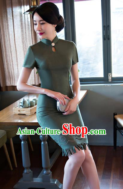Chinese Top Grade Elegant Suede Fabric Qipao Dress Traditional Republic of China Tang Suit Atrovirens Cheongsam for Women