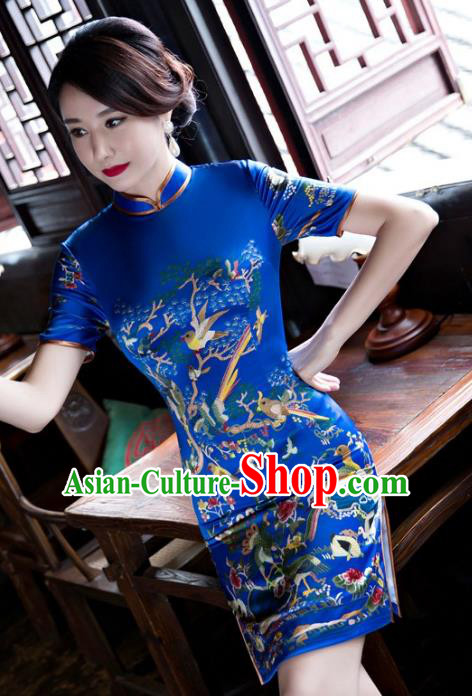 Chinese Top Grade Elegant Cheongsam Traditional Republic of China Tang Suit Blue Qipao Dress for Women