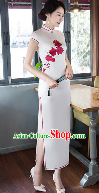 Chinese Top Grade Elegant Printing Flowers Cheongsam Traditional Republic of China Tang Suit White Silk Qipao Dress for Women