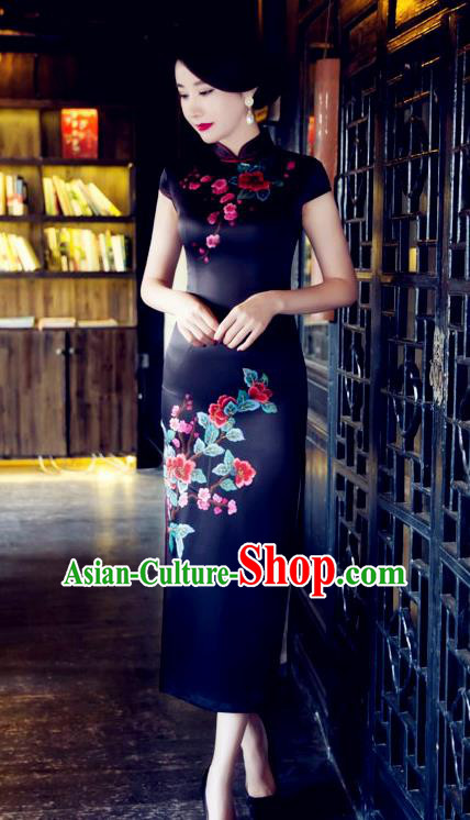 Traditional Top Grade Chinese Elegant Printing Black Cheongsam China Tang Suit Qipao Dress for Women