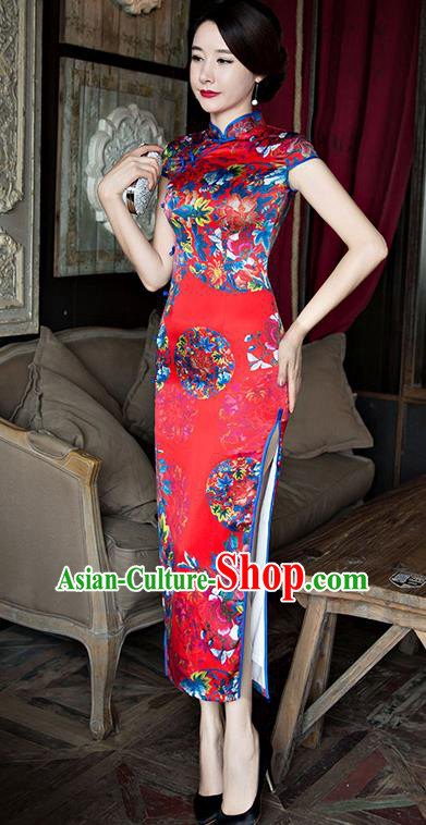 Traditional Top Grade Chinese Elegant Printing Cheongsam China Tang Suit Red Qipao Dress for Women