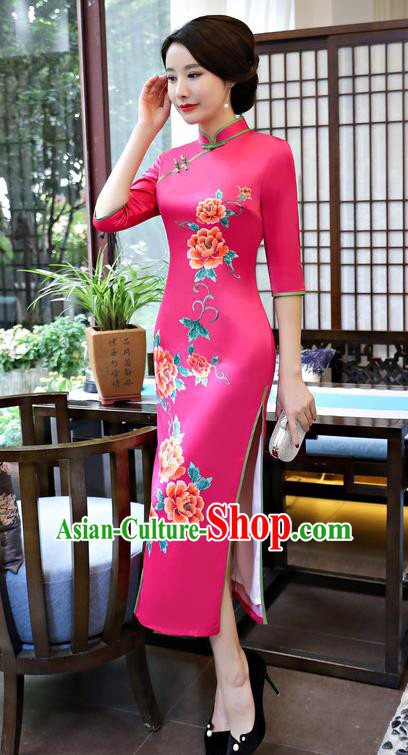 Traditional Top Grade Chinese Elegant Printing Peony Cheongsam China Tang Suit Rosy Qipao Dress for Women