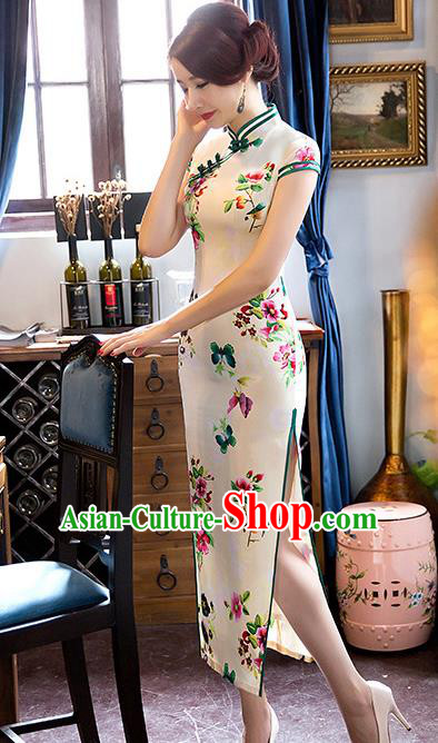 Traditional Top Grade Chinese Elegant Printing Flowers Cheongsam China Tang Suit White Qipao Dress for Women