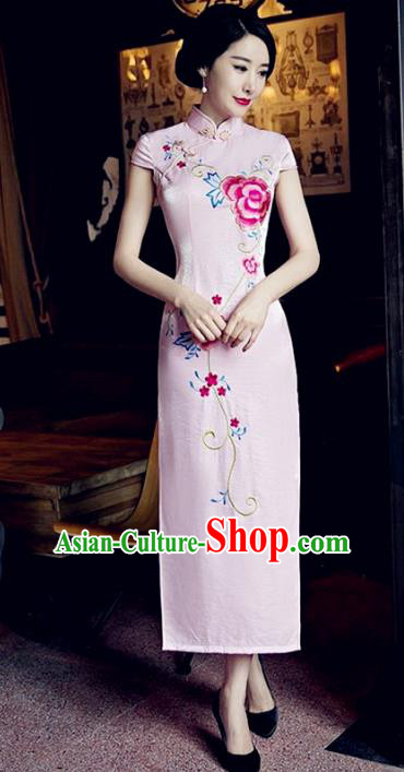 Traditional Top Grade Chinese Elegant Printing Peony Pink Cheongsam China Tang Suit Qipao Dress for Women