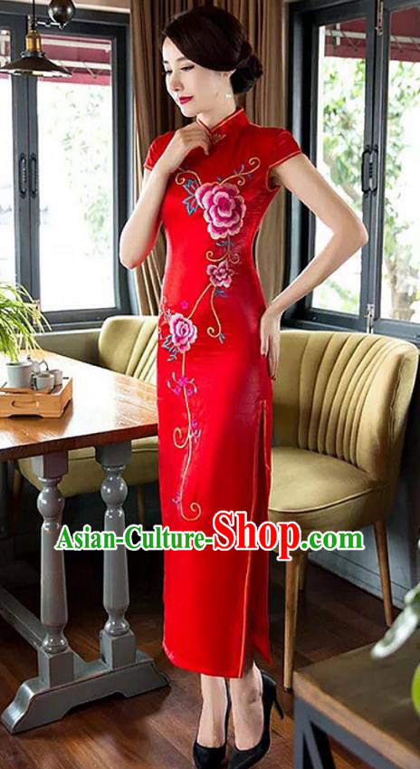 Traditional Top Grade Chinese Elegant Printing Peony Red Cheongsam China Tang Suit Qipao Dress for Women
